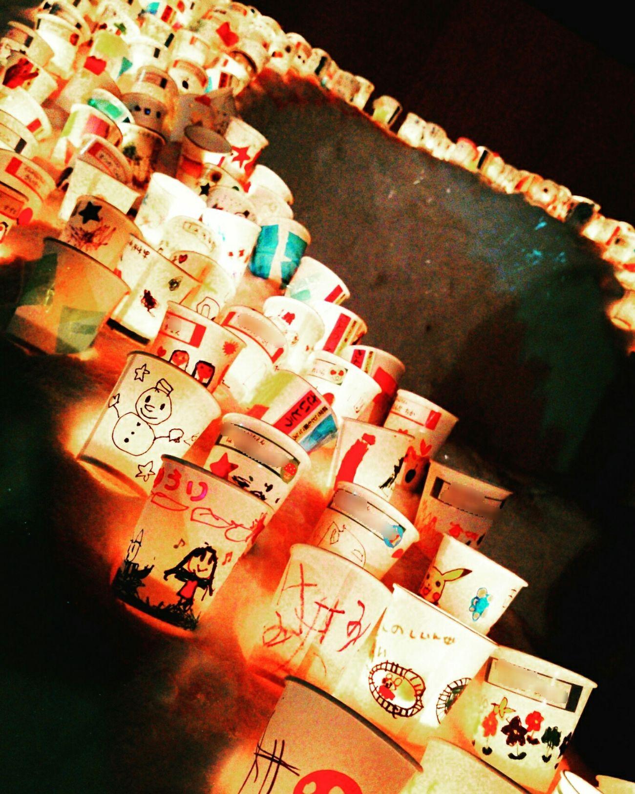 Winter Cool Snow Light Candle Light Cups Fire Children カップキャンドル 幼稚園児 手描き 雪国 ライトアップ