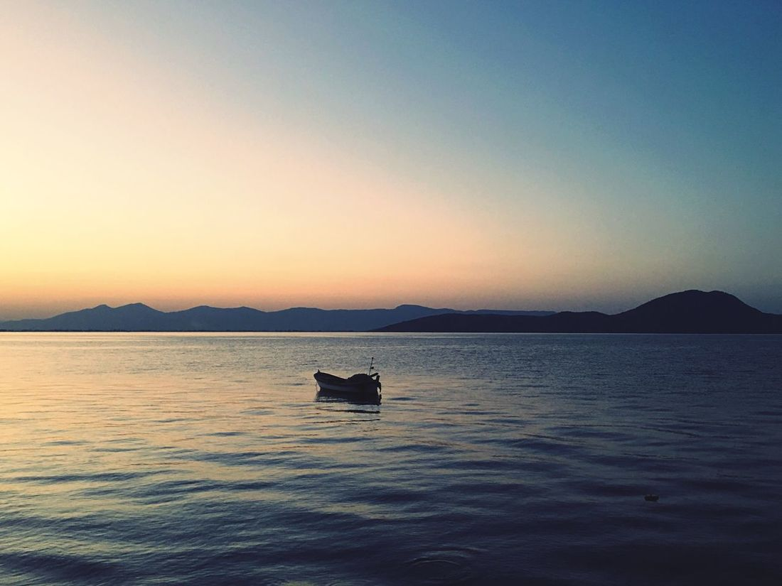 Nofilter#noedit Silhouette Nautical Vessel Sunset Beauty In Nature Tranquility Nature Journey No People Mountain Clear Sky