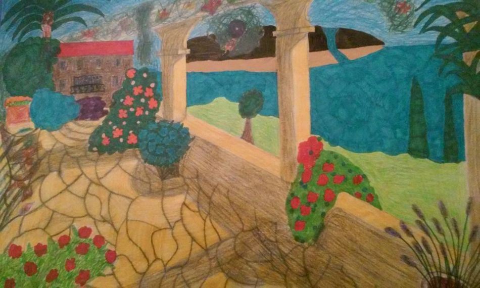 My drawing Drawing Creativity No People Pencil And Paper Drawn By Me My Drawing Drawing ✏ Terrace View Multi Colored Drawing, Painting, Artwork Art And Craft Art Hand Drawn Tranquility