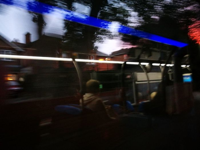 Bussing it home after long journey from work Night Illuminated Childhood Real People Blurred Motion People Lifestyles One Person Child Outdoors Adult City