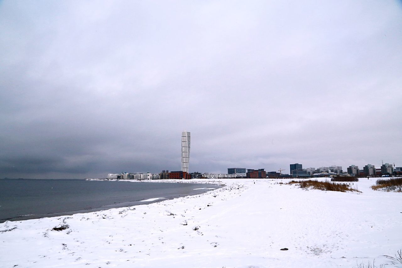 Winter City Coast Coastal Architecture Building And Sky Cold Temperature Coastline Santiago Calatrava Nordic Countries Malmö Malmoe Wintertime Turning Torso Scandinavia Sweden Swedishwinter Nordic Scandia Calatrava Openspaces Landscape Apartment Buildings Snow Outdoors