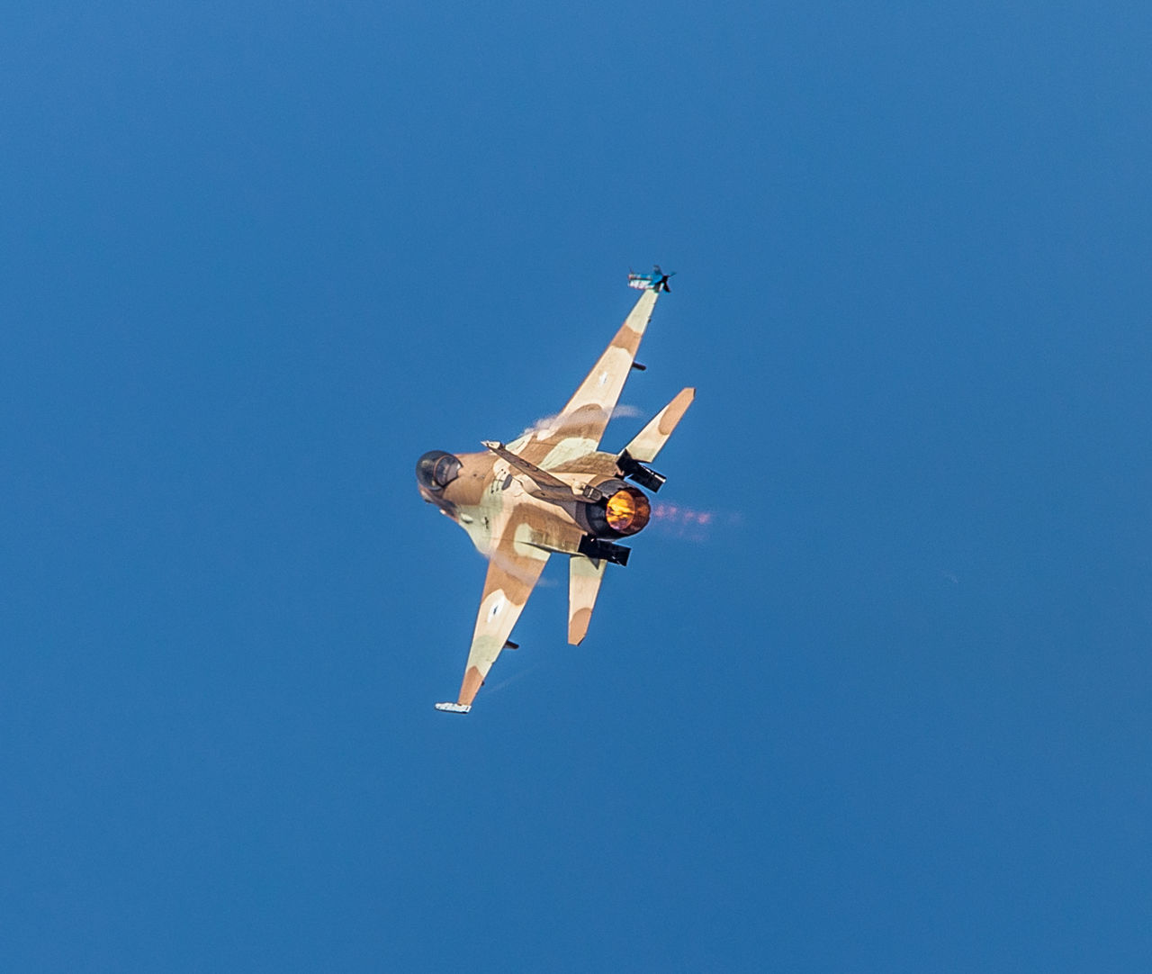Aviation Blue Blue Sky Clear Sky F-16 Fighting Falcon Flight Flying General Dynamics IAF Israeli Air Force Low Angle View Mid-air RISK Sky