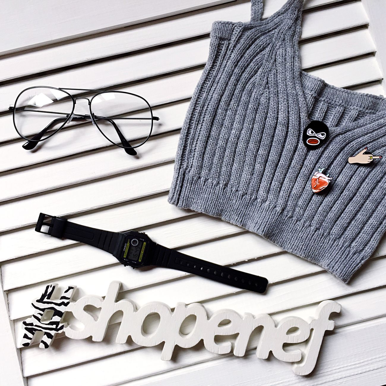 Shopenef  Glasses Casio Watch Casio