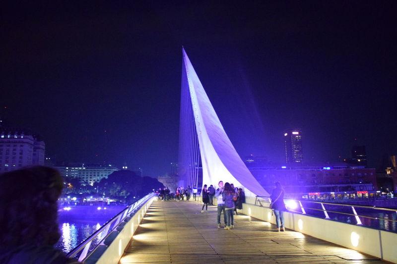 Night Illuminated Architecture City Urban Buenos Aires Puerto Madero People Bridge - Man Made Structure Beautiful Land
