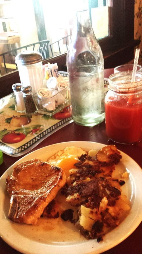 """""""Mindful"""" portion of porkchops and eggs at Molly's."""