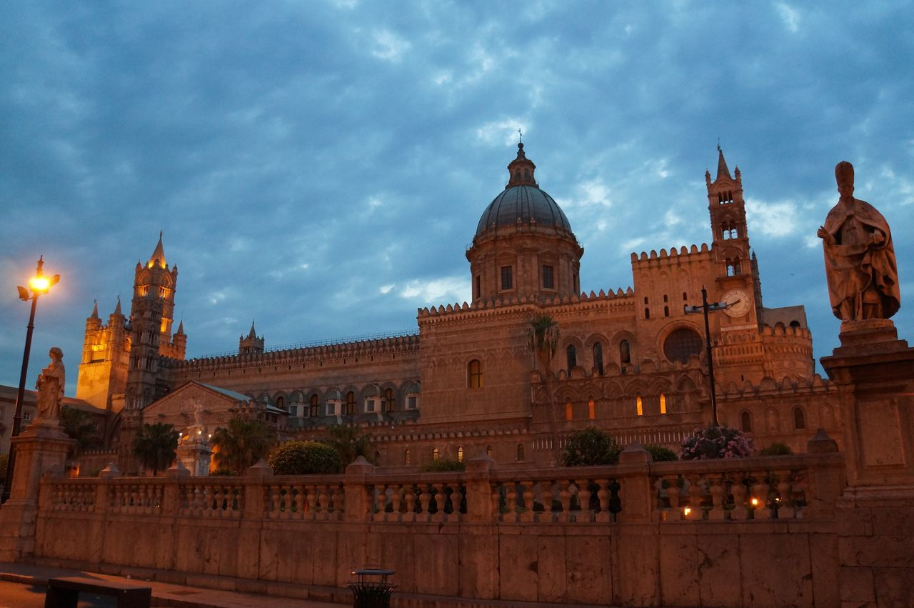 Architecture Architecture Building Exterior Built Structure Cathedral Cattedraledipalermo Church City Cloud - Sky Cloudscape Dome Dusk Sky Italy Lights Low Angle View Outdoors Palermo Sicily Travel Destinations