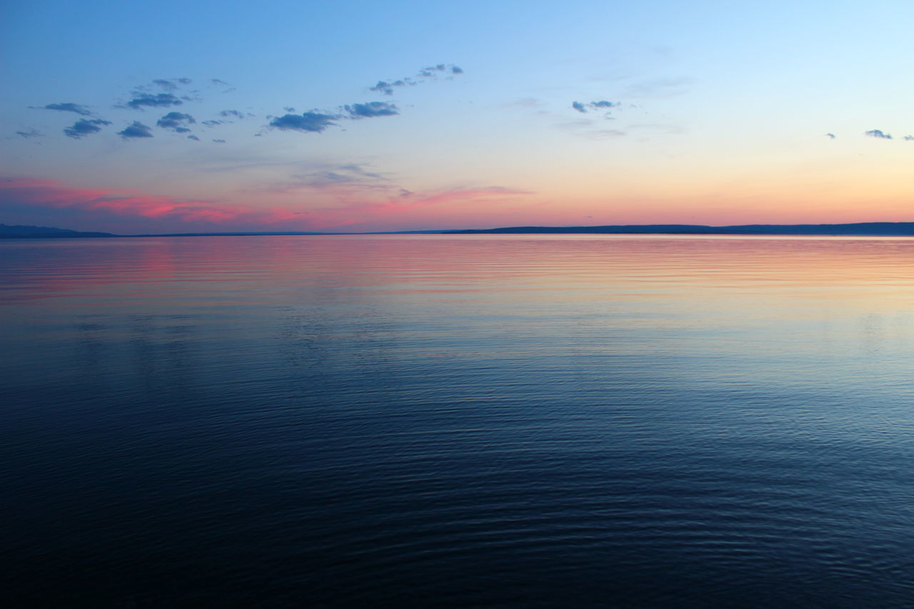 The tranquility of dusk Dusk Sunset Lake Yellowstone Serenity Nature Sky Water Yellowstone Lake Landscapes With WhiteWall