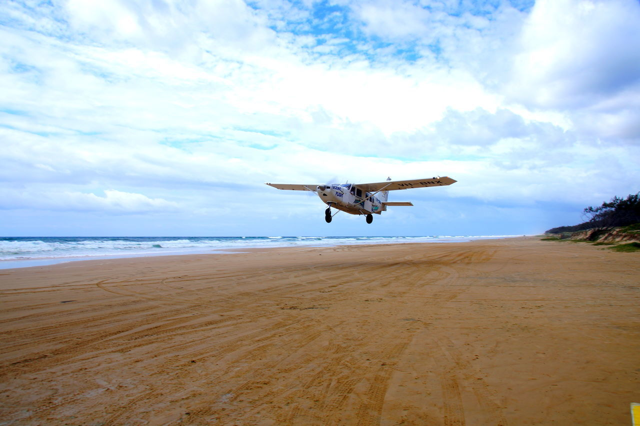 Air Vehicle Aircraft Airplane AirPlane ✈ Australia Beach Cloud - Sky Day Flying Fraser Island Hervey Bay Herveybay Landscape Mid-air Nature No People Outdoors Sand Scenics Sea Sky Takeoff On The Beach