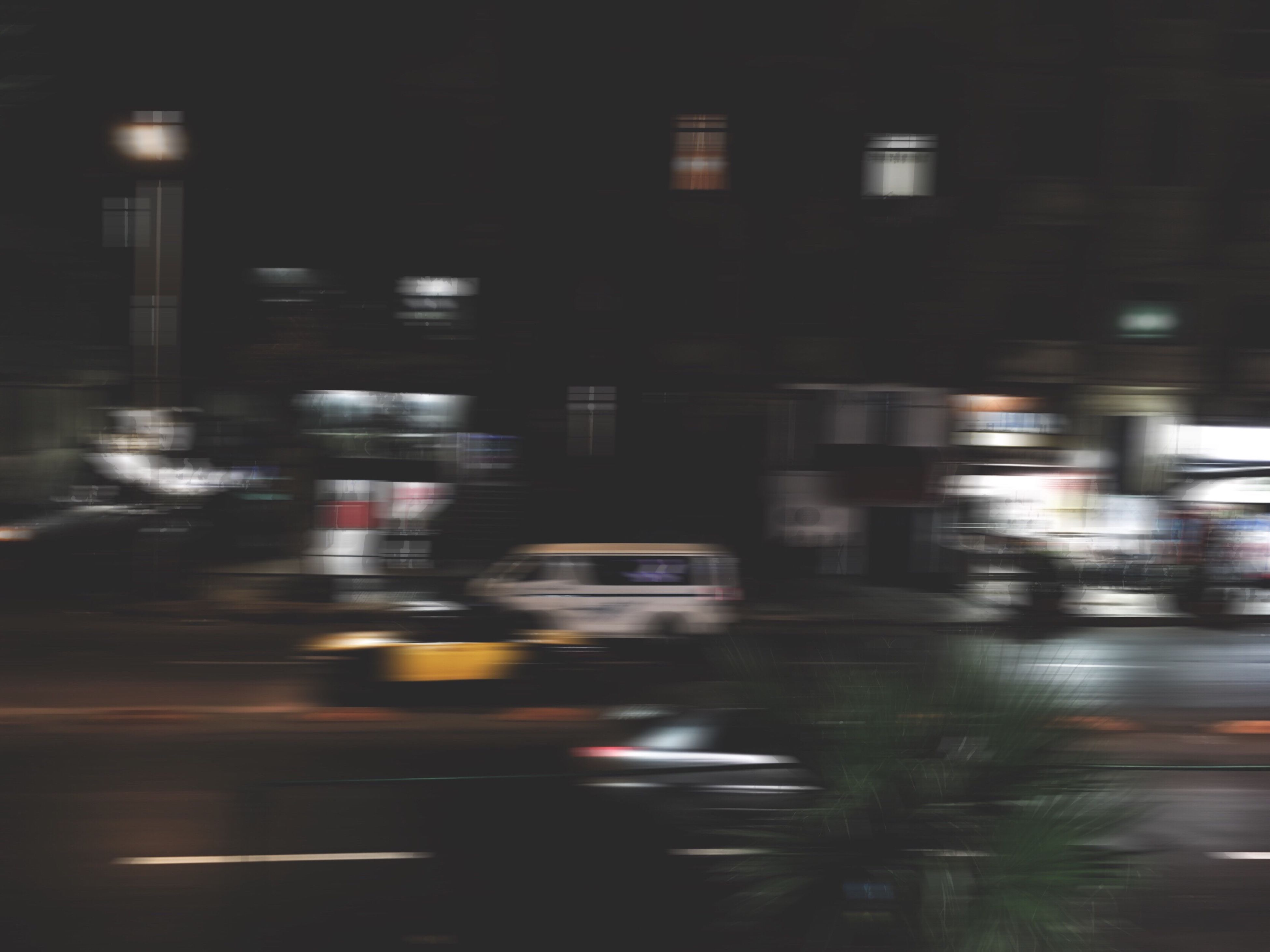 blurred motion, speed, illuminated, transportation, motion, night, road, city, architecture, no people, outdoors