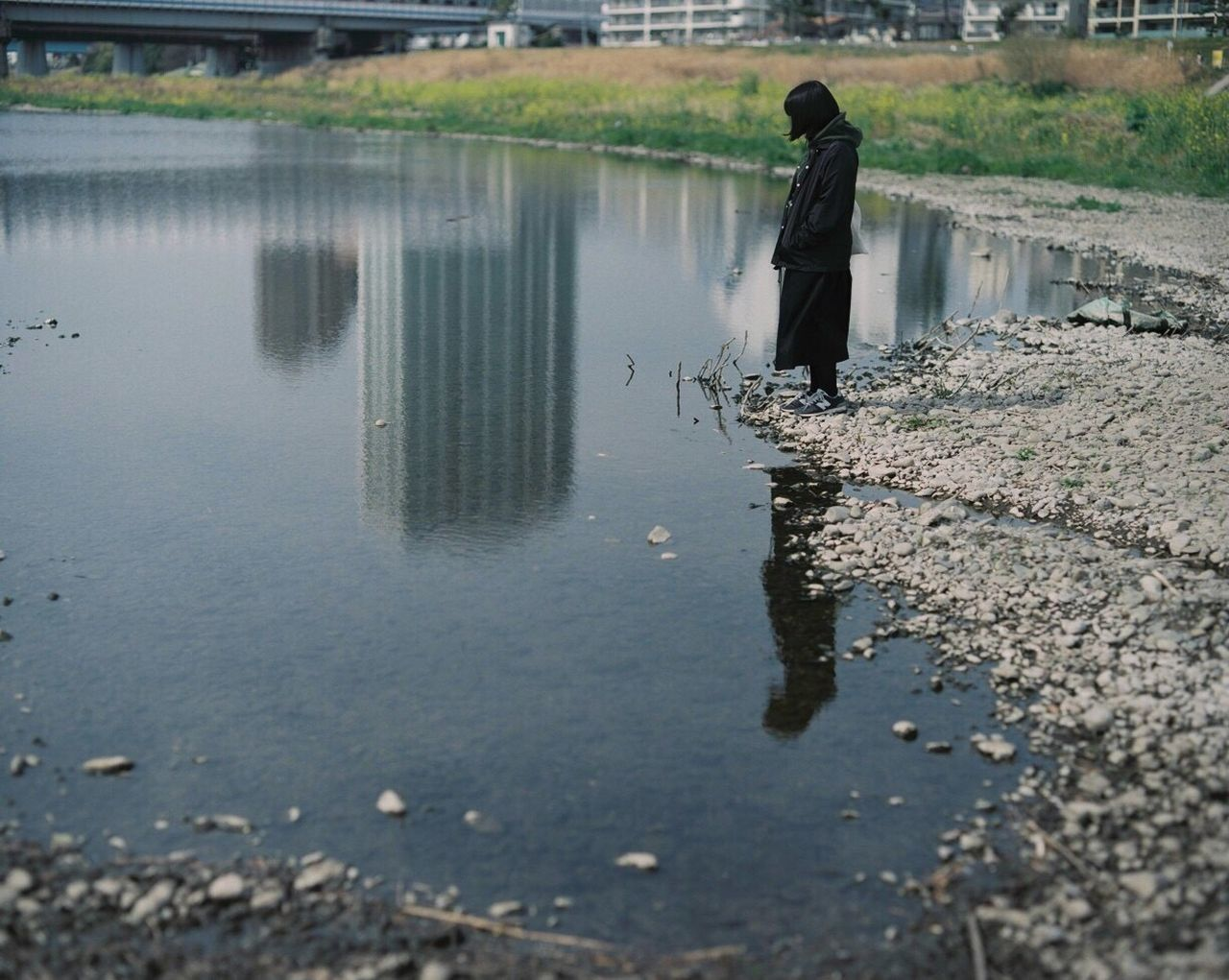 Filmcamera Water Reflection One Person Standing Day Filmisnotdead Film Photography Film Outdoors