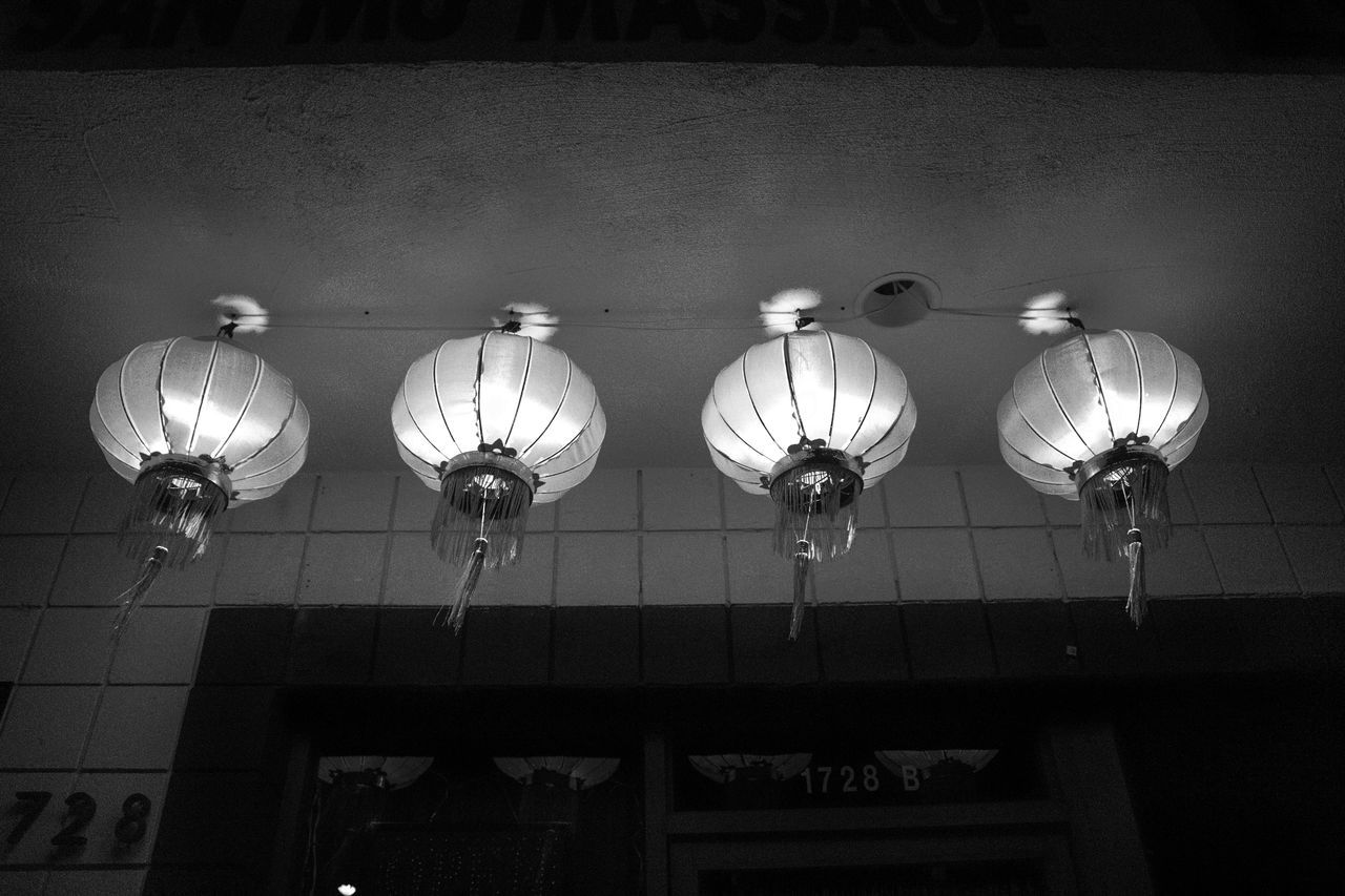 Architecture Blackandwhite Chinese Lantern Contrast Culture Day Electricity  Hanging Illuminated Indoors  Lantern Light Lighting Equipment Low Angle View Low Angle View Monochrome Night No People