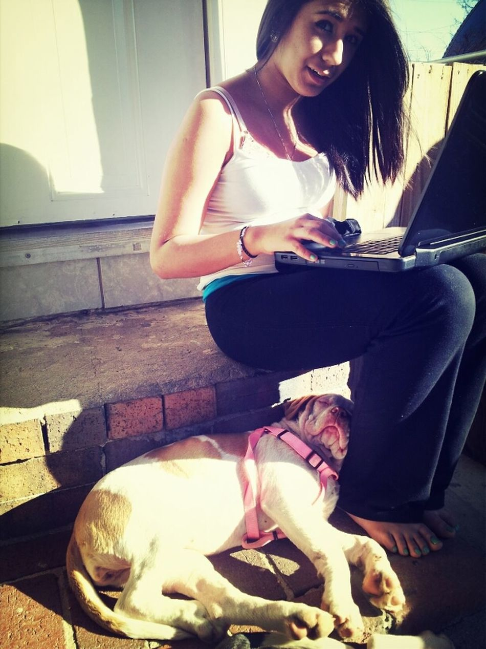 Dog Sleepin On Nancy And He Snoring Lmao