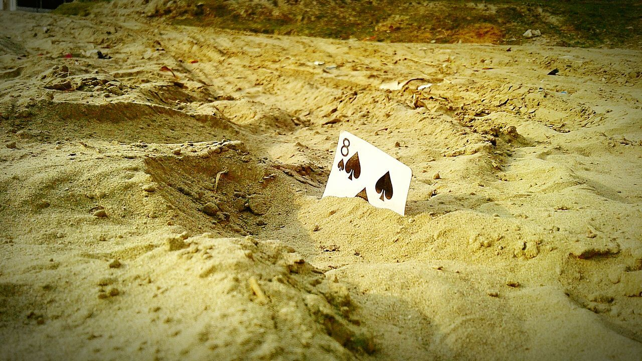 Sand High Angle View Tash Card FootPrint No People Outdoors Nature Collection For Different
