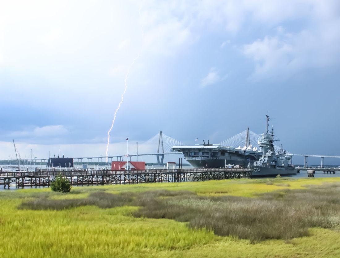 Aircraft Carrier Bridge Charleston SC Lightning Ravenal Bridge Ship Storm Thunderstorm USS Yorktown Weather