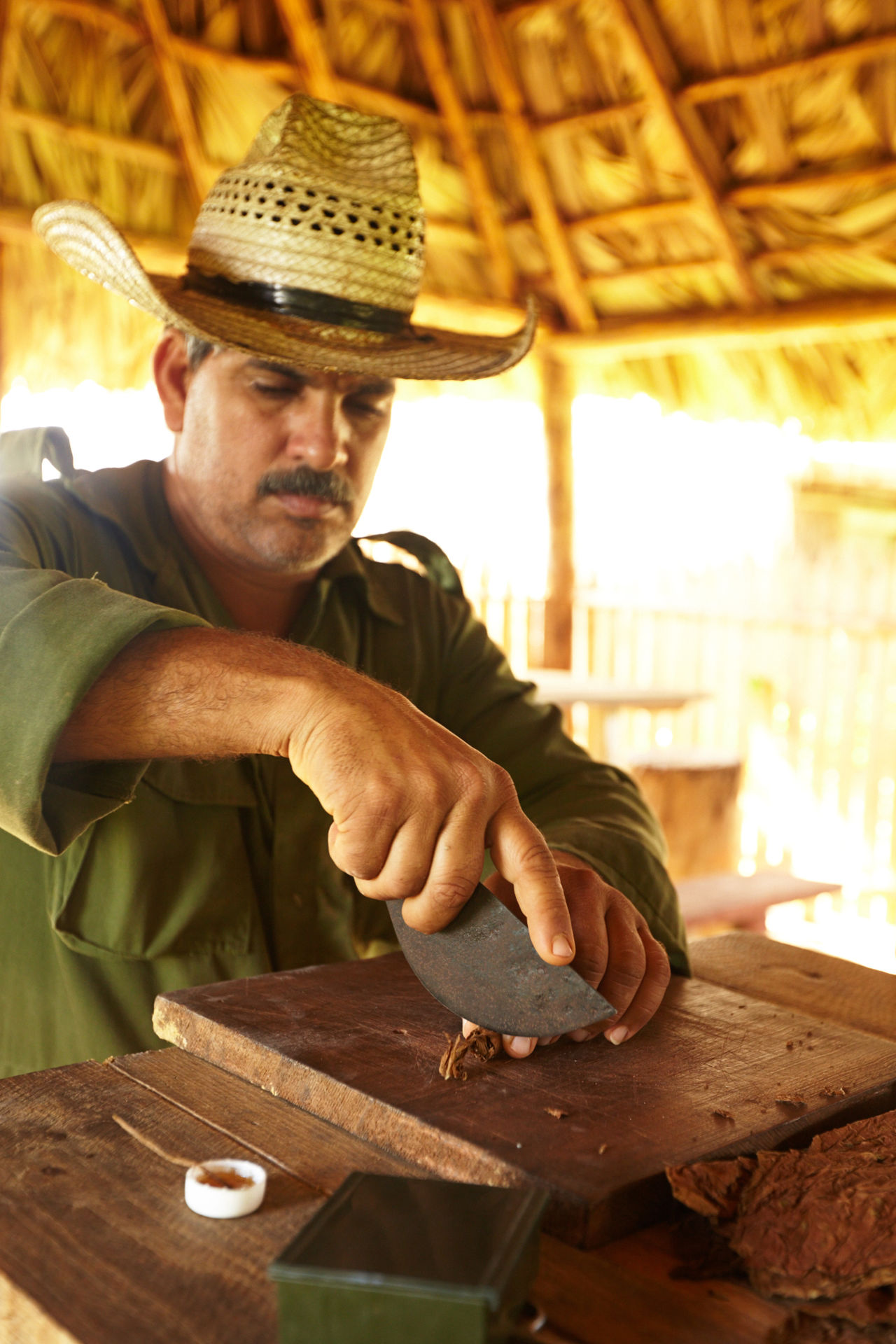 Adult Countryside Cuban Cigar Cuban Life Day Indoors  Mid Adult Occupation One Man Only One Person People Real People Skill  Tobacco Leaf Wood - Material Workshop Young Adult