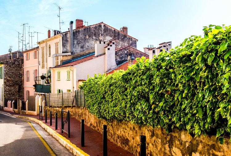 Typical residential houses in Cannes, France Architecture Building Exterior Bush Cannes, France City Day Europe France French Riviera Hills Houses Landscape Outdoors Provence Alpes Cote D'azur Residential Building Roof Rooftop Summer Sunny Tourist Resort Travel Destinations Typical Urban View