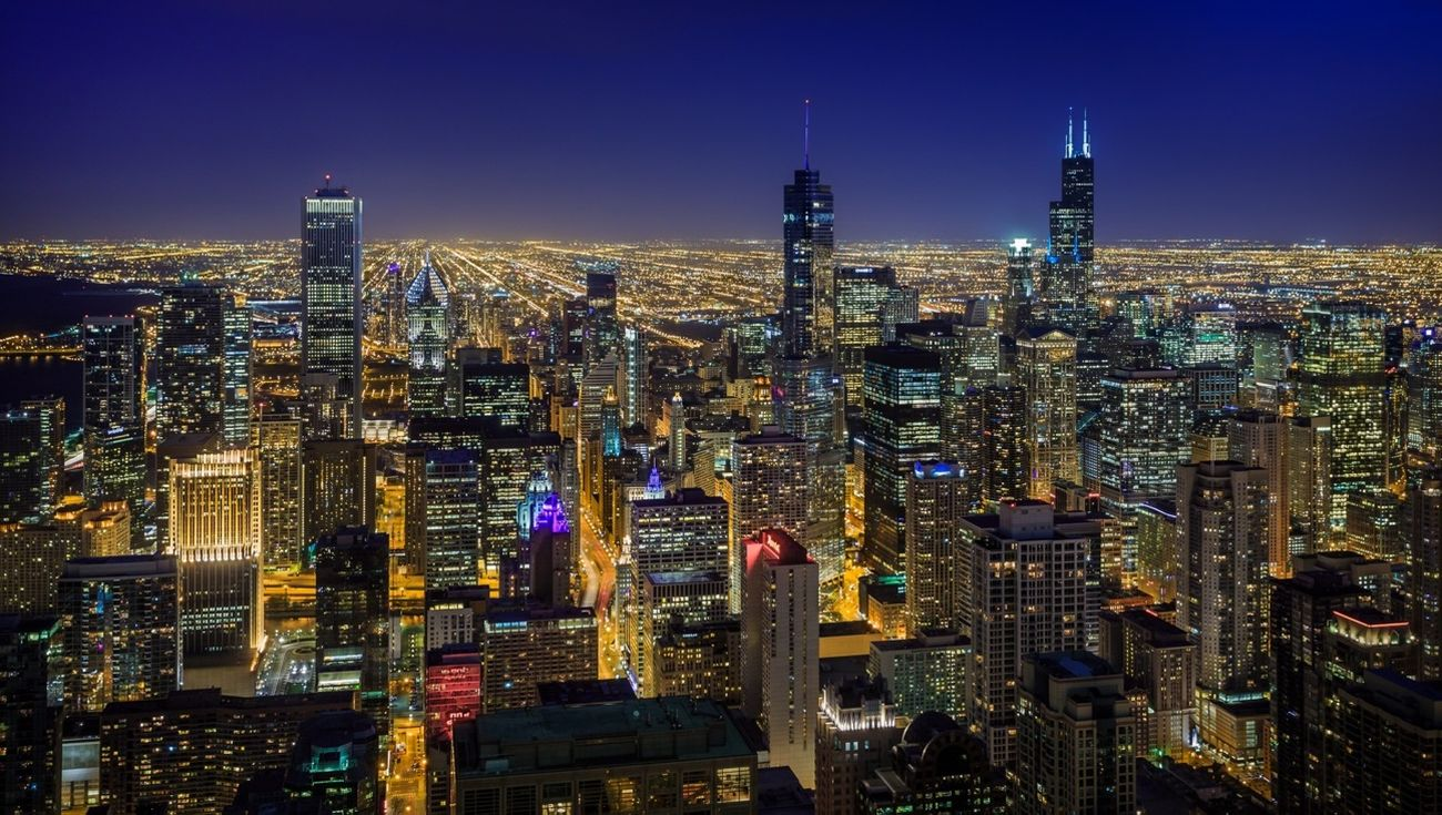 City Chicago Night Lights Cityscapes