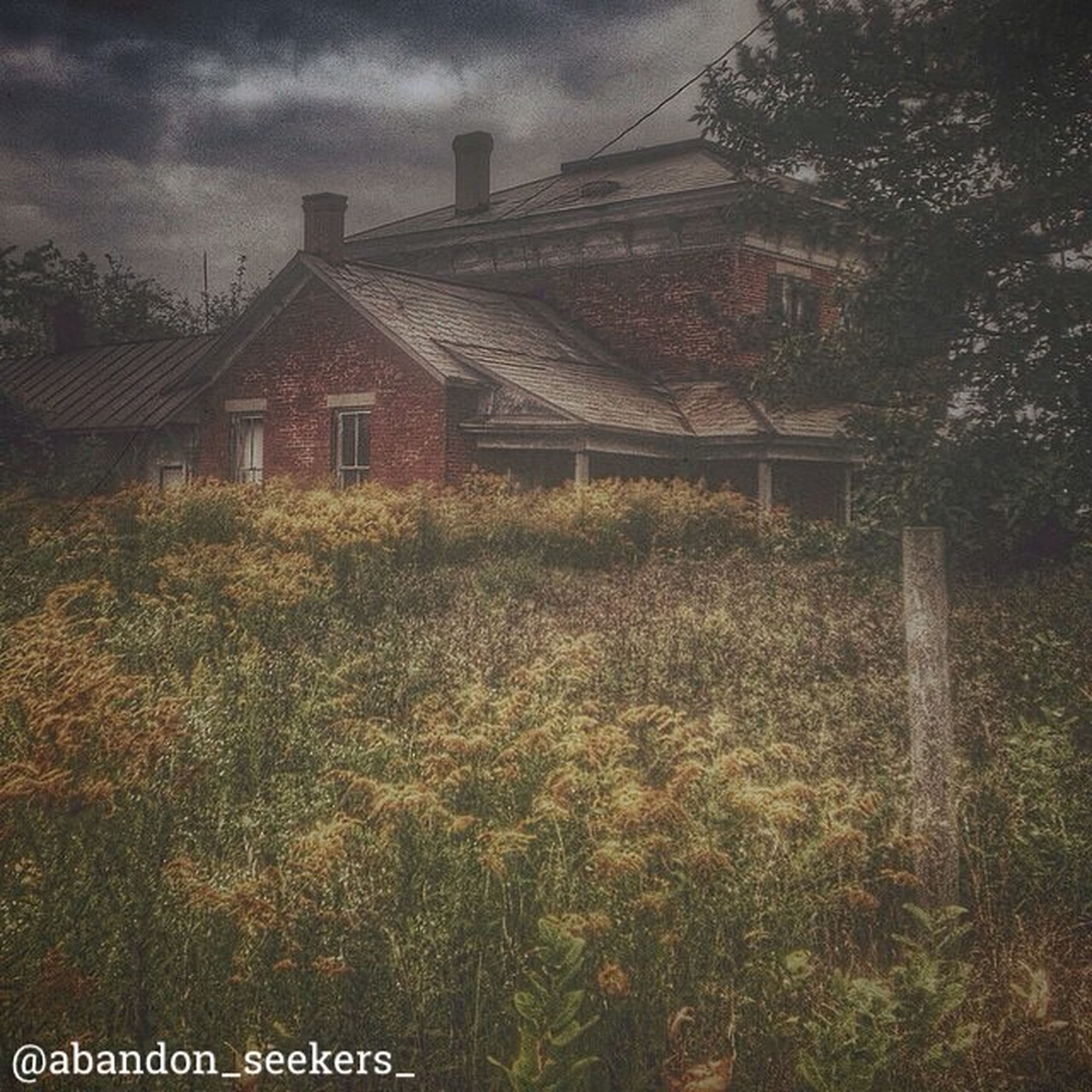 architecture, building exterior, built structure, sky, house, grass, field, cloud - sky, growth, residential structure, plant, tree, residential building, outdoors, day, nature, no people, rural scene, cloudy, overcast