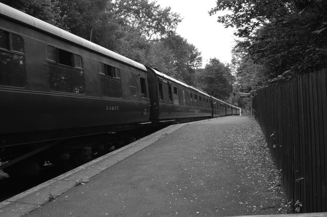Black And White Black And White Photography Bnw_captures Train Train Carriages Severn Valley Railway Platform Platform Of Train Station Days Out Historical Perspectives Leading Lines