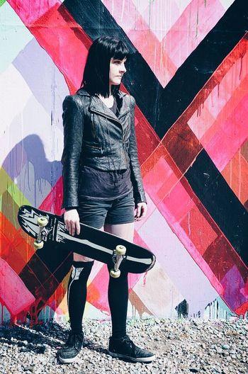 Art Artistic Color Portrait Colorfull Colors Girl Skate Skateboard Skateboarding Skateboardingisfun Vscocam Woman