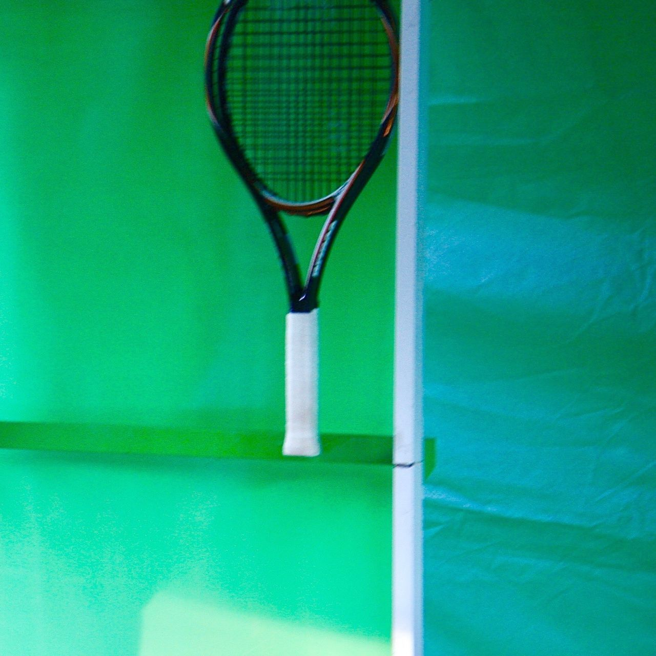Green - green - green and a tennis racket ... Tennis Green Color Greenery Sport Display Close-up Racket Sport Indoors  Abstract Simplicity Minimalism Fine Art Color Image Graphic Design Leisure Activity Activity Sports Equipment Pantone Colors By GIZMON