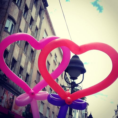 #love #love In Symbols Architecture Baloons🎈 Building Exterior Built Structure Clock Close-up Day Greetings From Belgrade Hearts And The Street Lamp Hearts♡hearts I Love You Kitch Kitchy Romanticism Love In Belgrade Love ♥ Low Angle View No People Old City Outdoors Romantic Photo Sky Sweet Romanticism United Hearts
