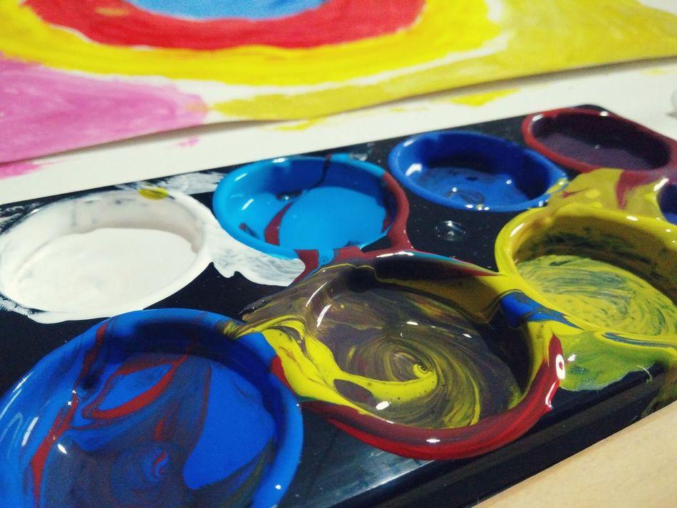 Art And Craft Paint Multi Colored Vibrant Color Watercolor Painting Painting Colours Painting In Progress Creative Occupation Art, Drawing, Creativity Painting Art