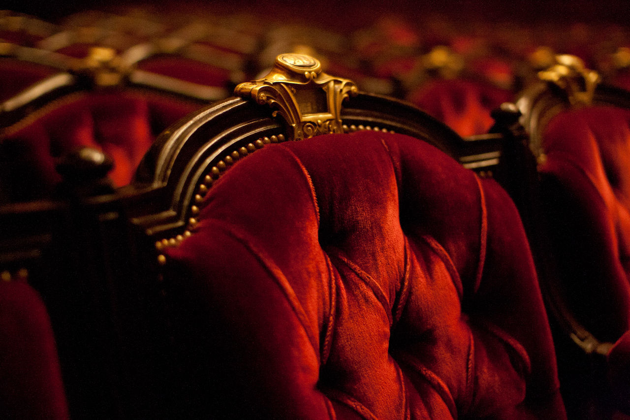 Beautiful stock photos of red, Arts Culture And Entertainment, Auditorium, Carving, Chair