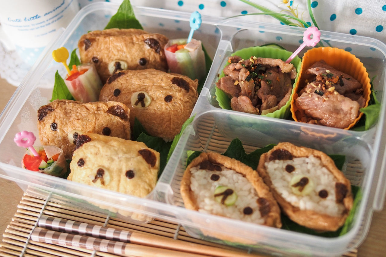 Bear Bento Bean Curd Skin Bear Close-up Cute Egg Food Launch Box No People Pork Pretty Ready-to-eat Rice