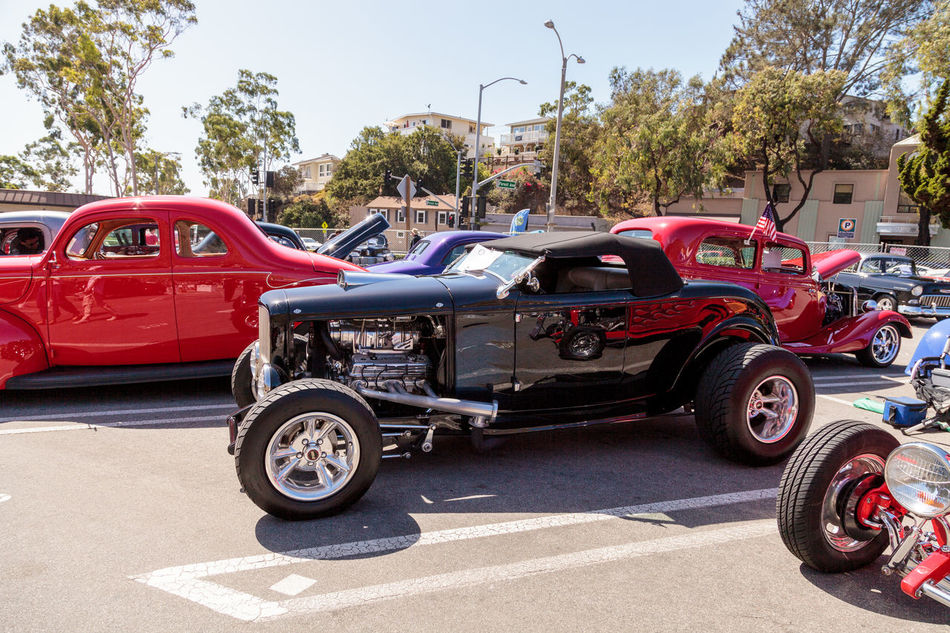 Laguna Beach, CA, USA - October 2, 2016: Black 1932 Ford B Roadster displayed at the Rotary Club of Laguna Beach 2016 Classic Car Show. Editorial use. 1932 Antique Car Automobile Car Show Classic Car Day Ford B Roadster Ford Roadster No People Old Car Outdoors Transportation Vintage Car Vintage Cars