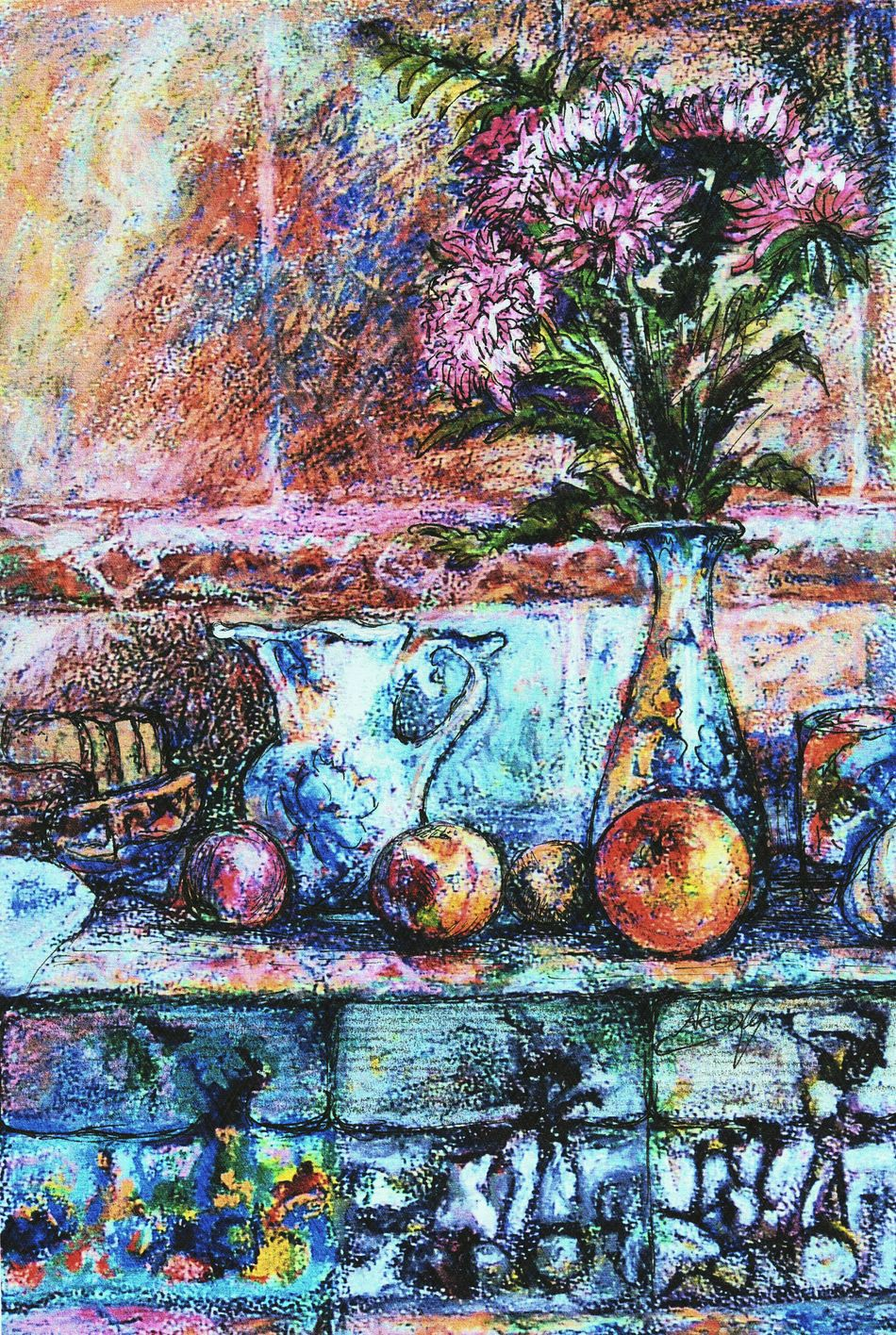 "My impression of a Russian Kitchen , the original is available in ""LinanDara's Art-n-Folk"" shop on Storenvy.com, for prints head to ""Linandara"" shop on Zazzle and type ""aster"" in the products search box. Multi Colored Art Artworks Still Life Pastel Painting рисунок натюрморт осень кухня астры гжель Arte Asters Orange Gzhel Vase Russia Autumn Fall"