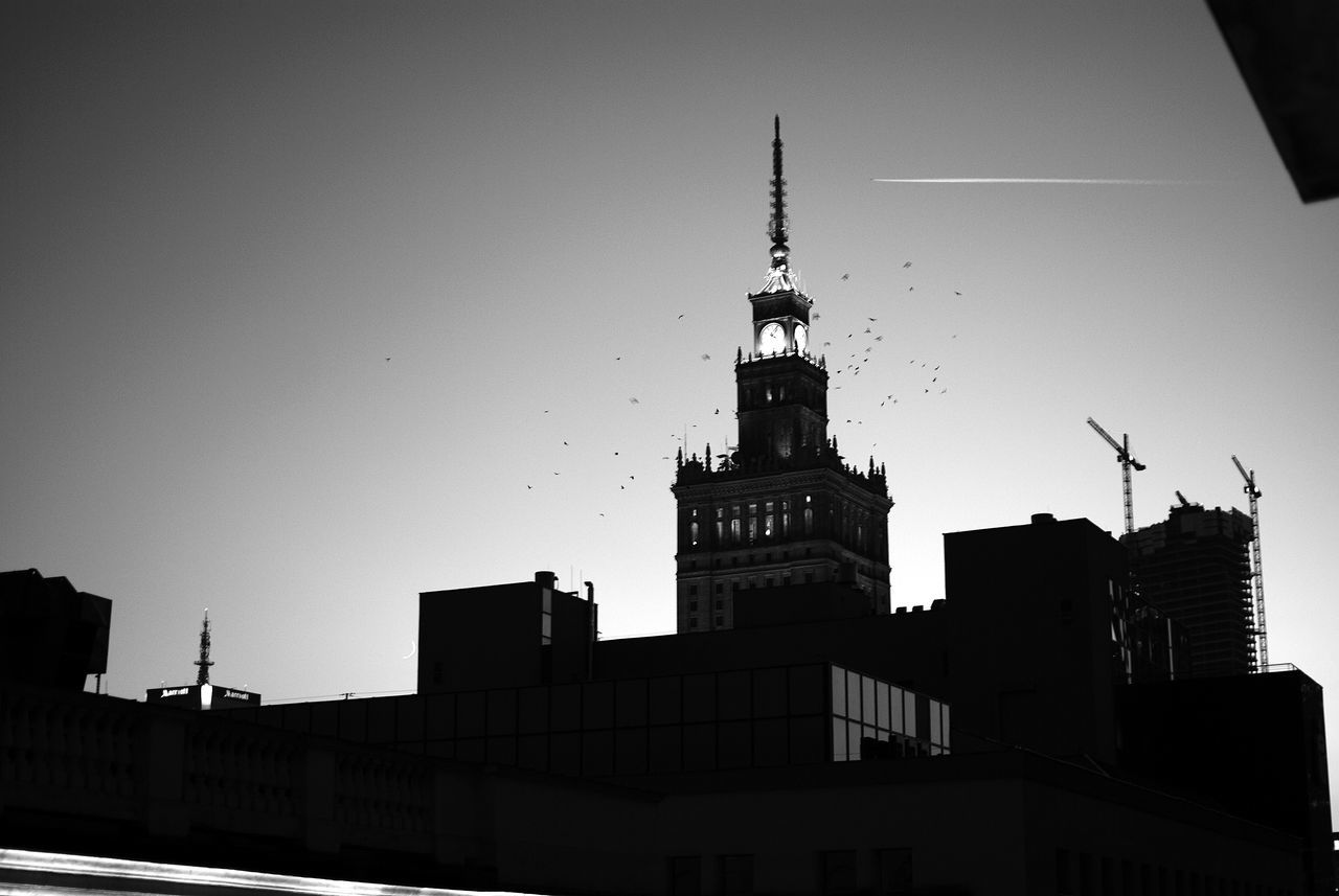 #birds #blackandwhite #Warsaw Architecture Building Exterior Built Structure City Illuminated Low Angle View Night No People Outdoors Sky Skyscraper Tower