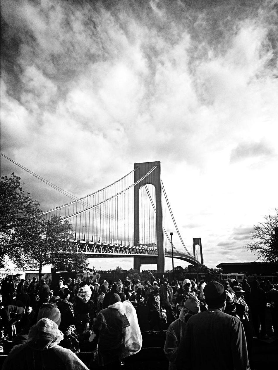 New York Marathon Verrazano Bridge Blackandwhite Light And Shadow