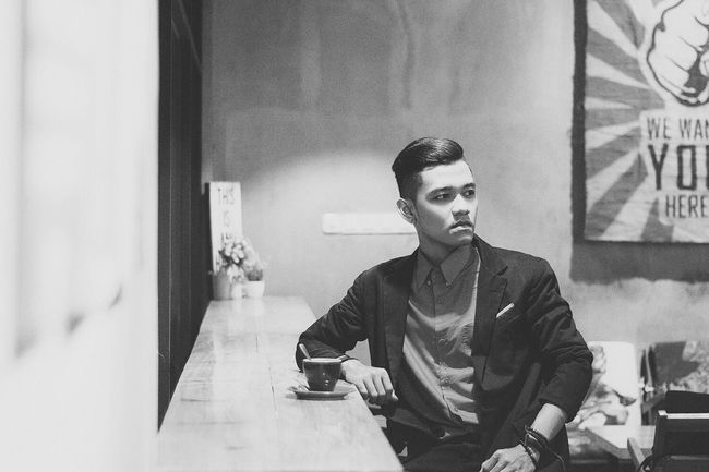 One day at the coffee shop Indoors  Sitting Casual Clothing One Mid Adult Man Only Black And White EyeEm Best Shots EyeEm Best Shots - Black + White Open Edit Monochrome Photography Fashion Portrait Person Ootd Fashion Photography Lifestyles Enjoyment Blackandwhite