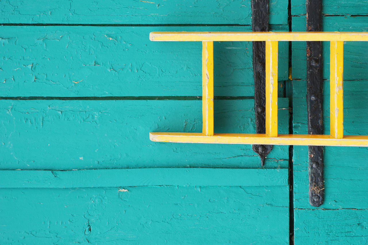 Old shed and ladder Architecture Blue Built Structure Close-up Day Fixtures Garden Garen Shed Hamburg Ironwork  Island Ladder Neuwerk No People Old Old Buildings Outdoors Shed Small Ironwork Wood Wooden Structure Wrought Iron Yellow Yellow Color