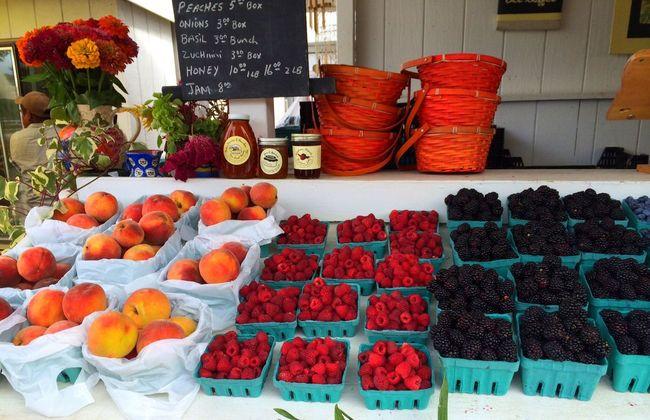 Fresh u-pick berry farm stand, Mattituck, NY Farmstand Farm Farmers Market Berries Raspberries Peaches Farm Fresh East End Long Island Mattituck IPhoneography Iphonephotography