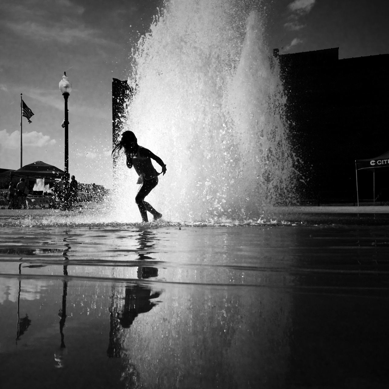 Somerset,KY. 2016 Water Motion Enjoyment Splashing Playing Leisure Activity Wet Lifestyles Fountain Spraying Fun Rain Summer Season  Refreshment Childhood City Life Playful Vacations Enjoying Monochrome Photography