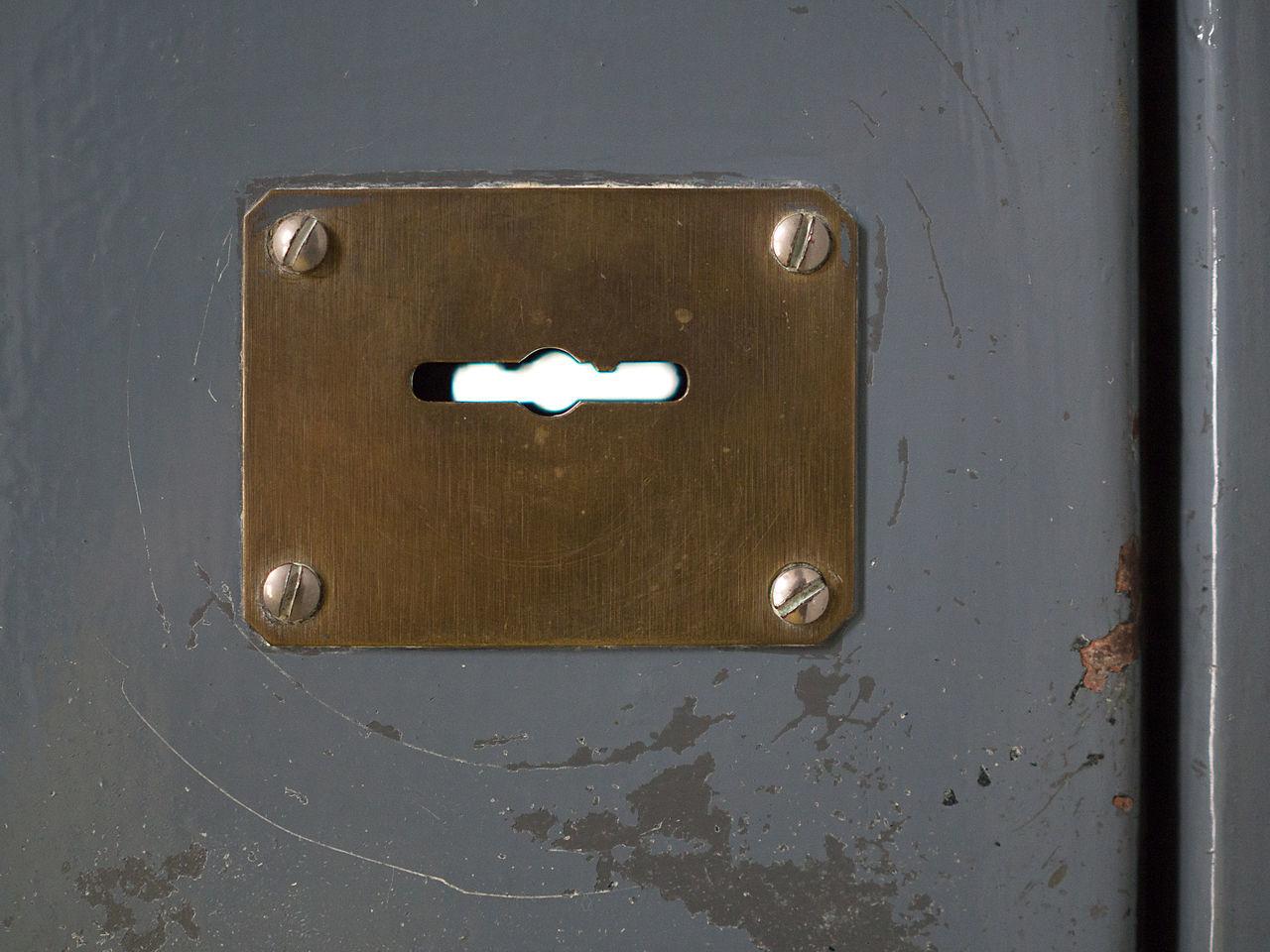 Look over Armoured Brass Close-up Door Freedom Jail Key Keyhole Lock Metal Metallic Open Patch Plate Porta Blindata Rectangle Rust Schlüssel Scraping Scratches Screw Security Door Sicherheitstür Slot Sperren