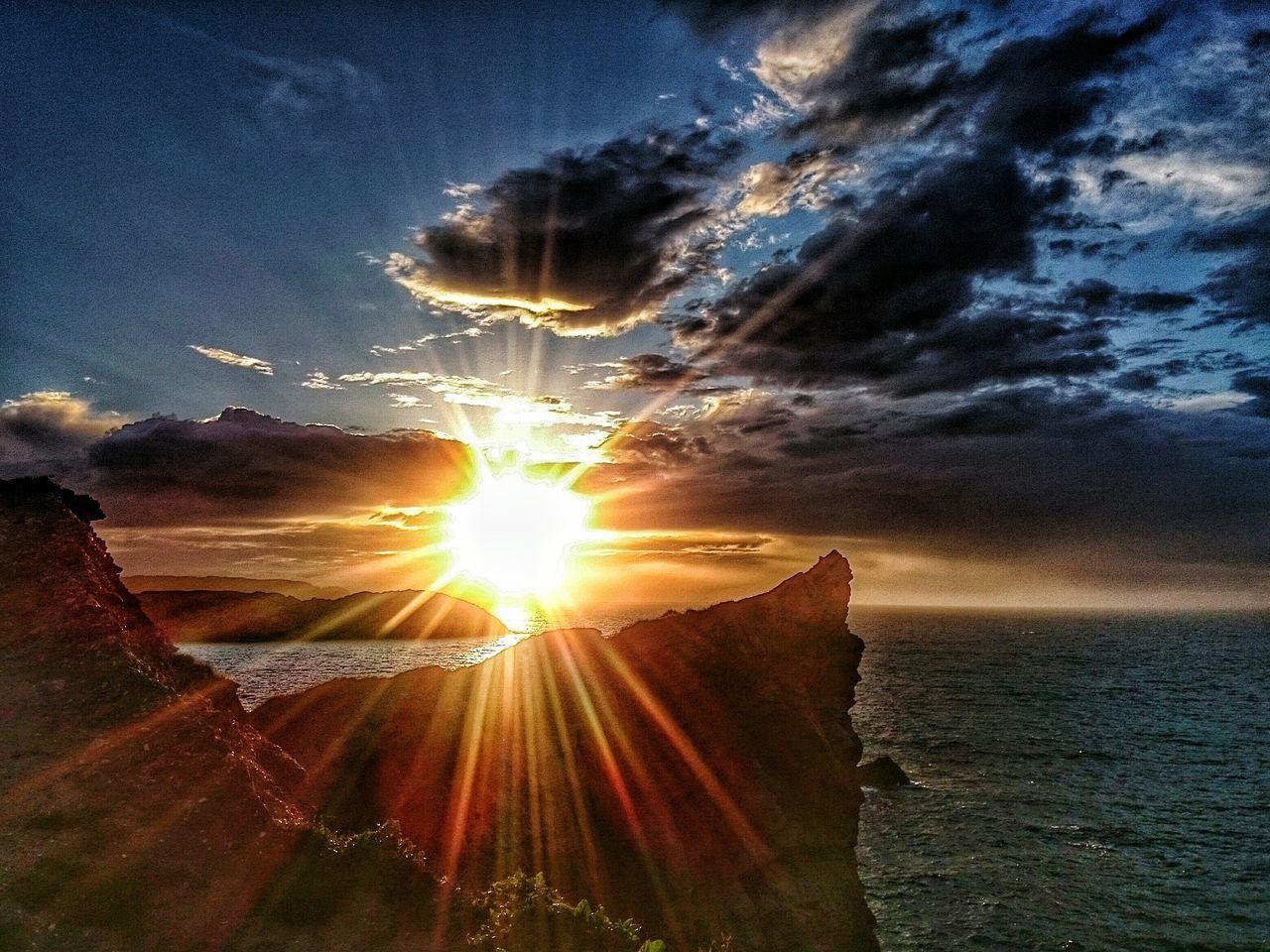 Sunset Tranquil Scene Sunlight Beauty In Nature