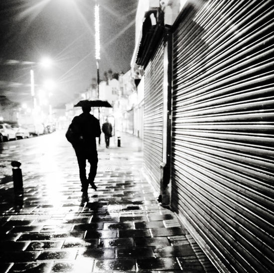Here Belongs To Me London Weather  Late Night Going Home Silhouette In The Rain Streetphotography East Ham