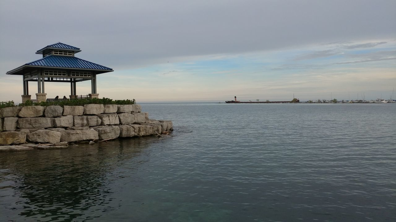 Sea Rock - Object Day Building Exterior Outdoors Water Sky Beach Nature Horizon Over Water Mississauga Lake Shore Mississauga Canada Port Credit Built Structure Sunlight Freshness Lake Lakeview Harbour Harbor Gazebo Blue