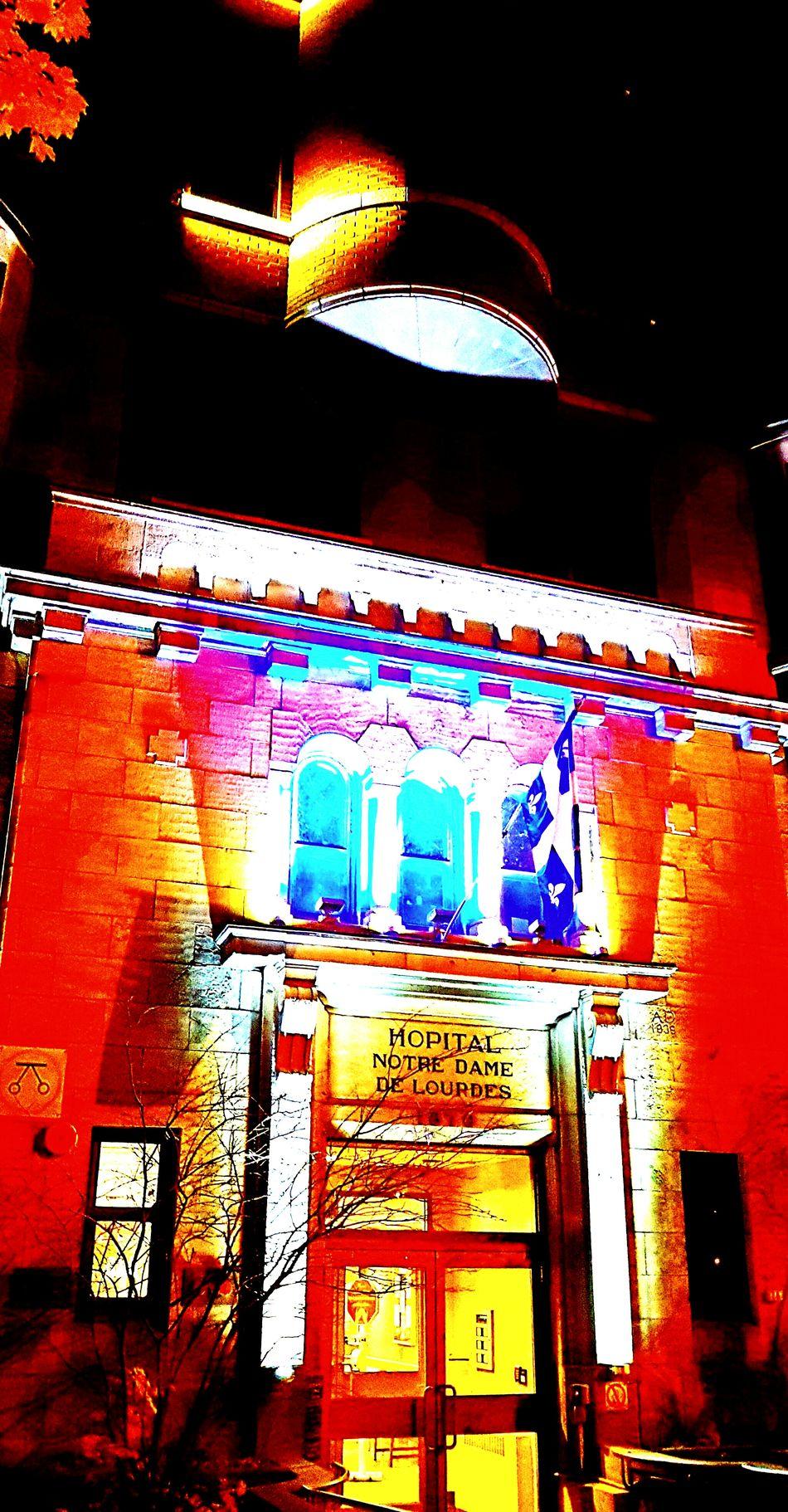 Montréal Notre Dame De Lourdes Quebec Drapeau Du Québec Hochelaga Homa Hôpital Neon Architecture Multi Colored