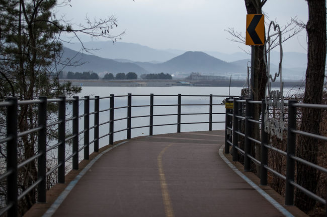 Absence Composition Connection Diminishing Perspective Empty Fence Getting Dark Gongjicheon In A Row Lake View Leading Narrow Perspective Protection Railing Railings Reflection Safety The Way Forward Walkway Walkwaywhy Water Wood Wood - Material Wooden