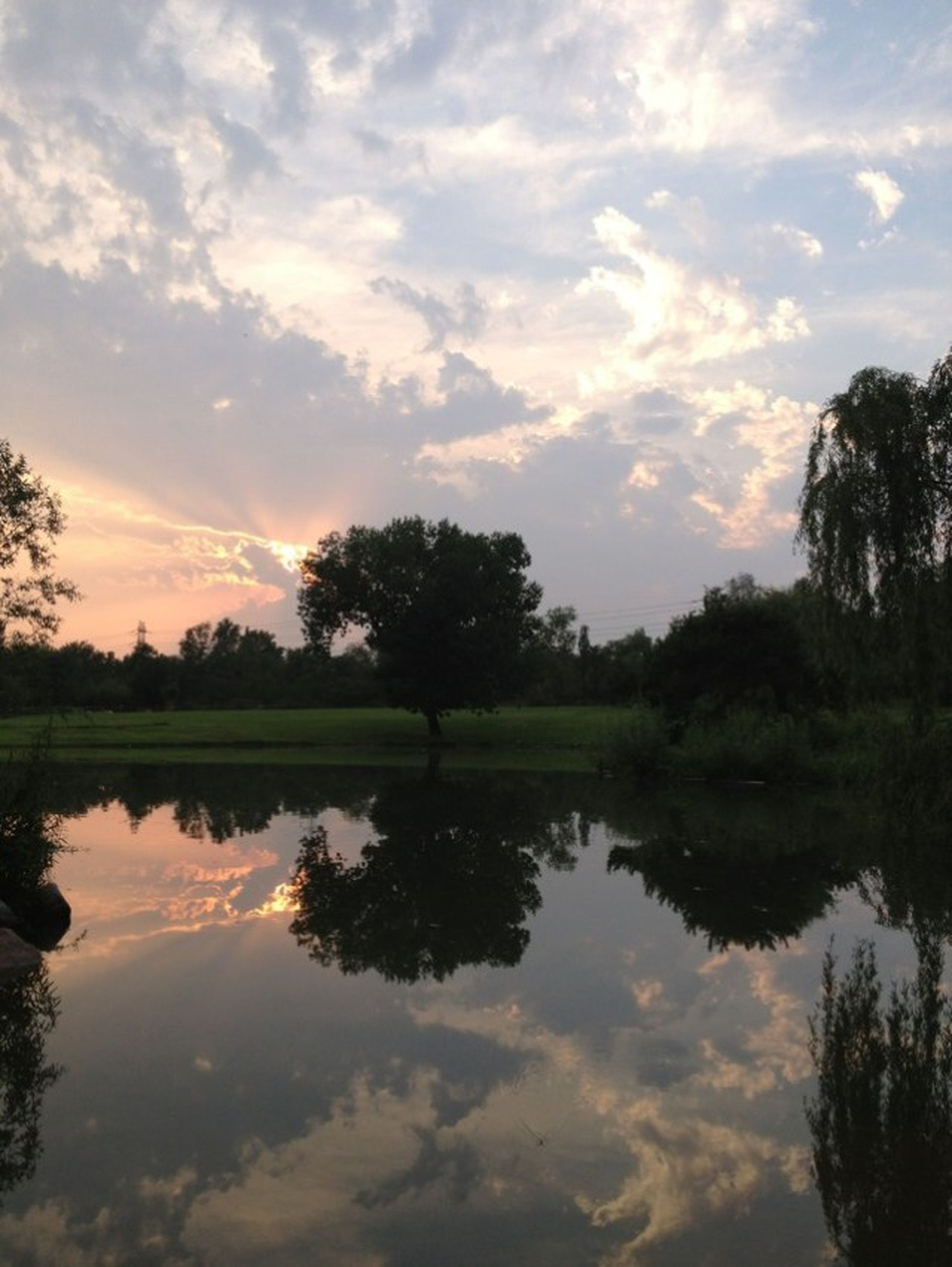 reflection, tranquil scene, tree, tranquility, lake, water, sky, scenics, beauty in nature, sunset, silhouette, cloud - sky, nature, waterfront, idyllic, cloud, standing water, calm, cloudy, outdoors