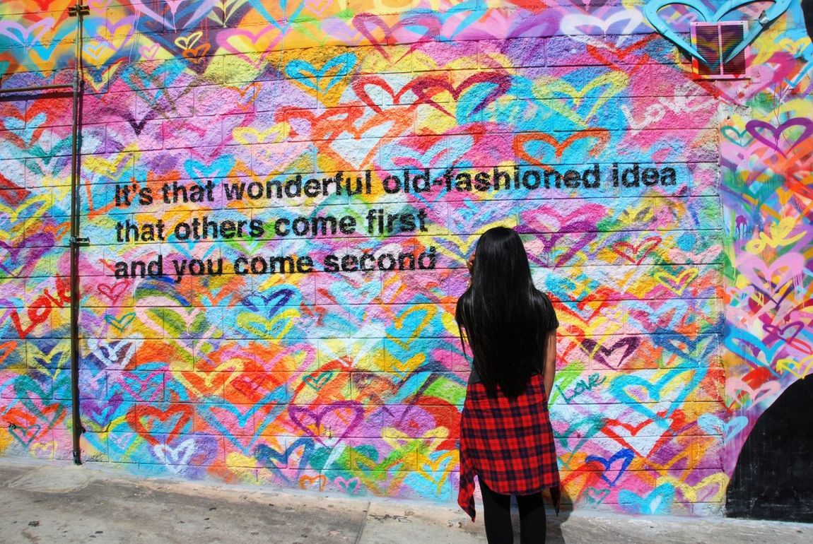 Art Inspiring Youth Brick Wall Close-up Fresh On Eyeem  Full Length Graffiti Hearts Inspirational Quotes  Lifestyles Many Hearts Multi Colored One Person One Woman Only Real People Spray Paint Standing Street Art Street Art/Graffiti Text Finding New Frontiers