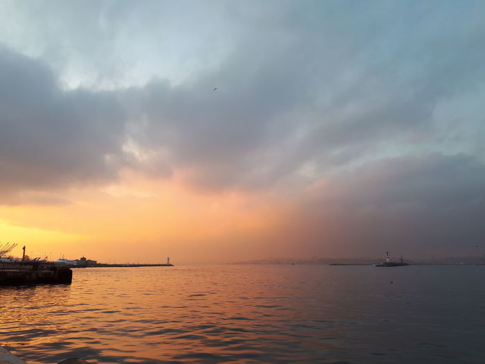 Sunset Sea Water Horizon Over Water Reflection Dramatic Sky Sky