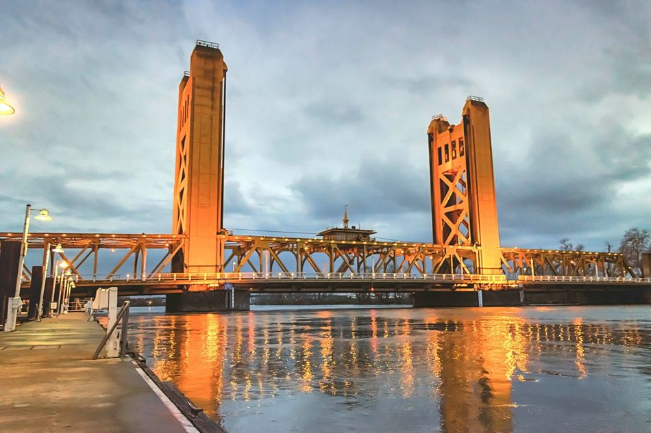 Sacramento's Tower Bridge! & The Flooded Sacramento River! Travel Destinations Travel Urban Skyline Bridge - Man Made Structure City Architecture Cultures Cityscape Water Business Finance And Industry Cloud - Sky Night Sky Outdoors No People Politician Sacramento, California California Photography Eye4photography  Oldsacramento Bridge River Reflection Reflections