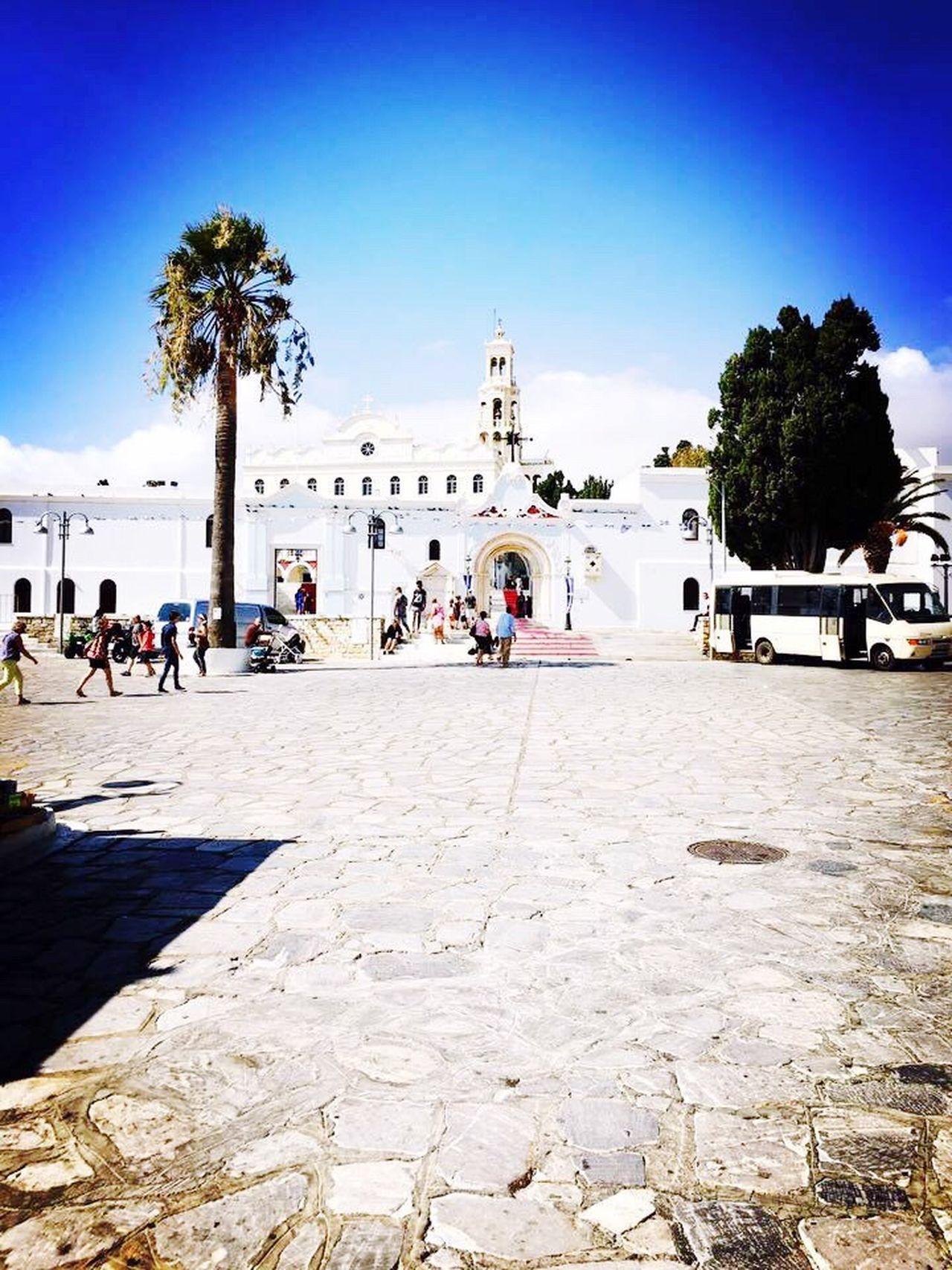 Tinos Island Grecce Santa Maria Church Sunny Day Good Time