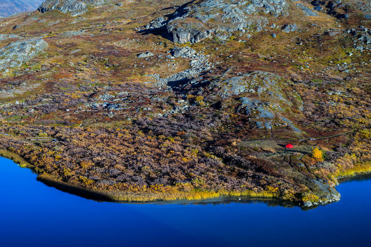 September hiking along The King's Trail in northern Sweden 2016 Alesjaure  Autumn Beauty In Nature Blue Camping Day Hiking Kungsleden Morning Mountain Multi Colored Nature Northern Europe Outdoors Red Remote Rock Formation Scandinavia September Sweden Tent The Kings Trail Tranquility Water