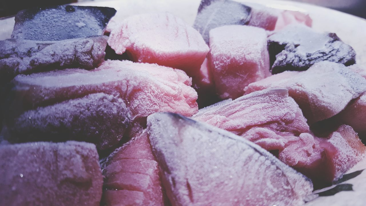 Raw Fish and meats on a plate Red Cold Room Chicken Stake Beef Mutton Meats Flesh Icy Fresh Proteins Nourishing Nutrients Frosted Fish Meat Raw Healthy Eating Refrigerator Sea Food Frozen Freezer Iced Ice Food